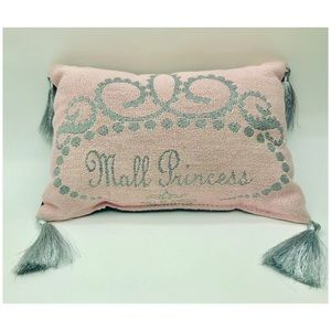 """Other - Mall Princess Pillow Home Decor Pink Silver 12""""x8"""""""